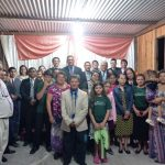 Irmãos e obreiros que participaram do culto festivo em Colonia Libertad