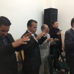 Alguns dos obreiros presente. À frente, o Superintendente da Juventude Restauração, Ev. Rodrigo Tavares